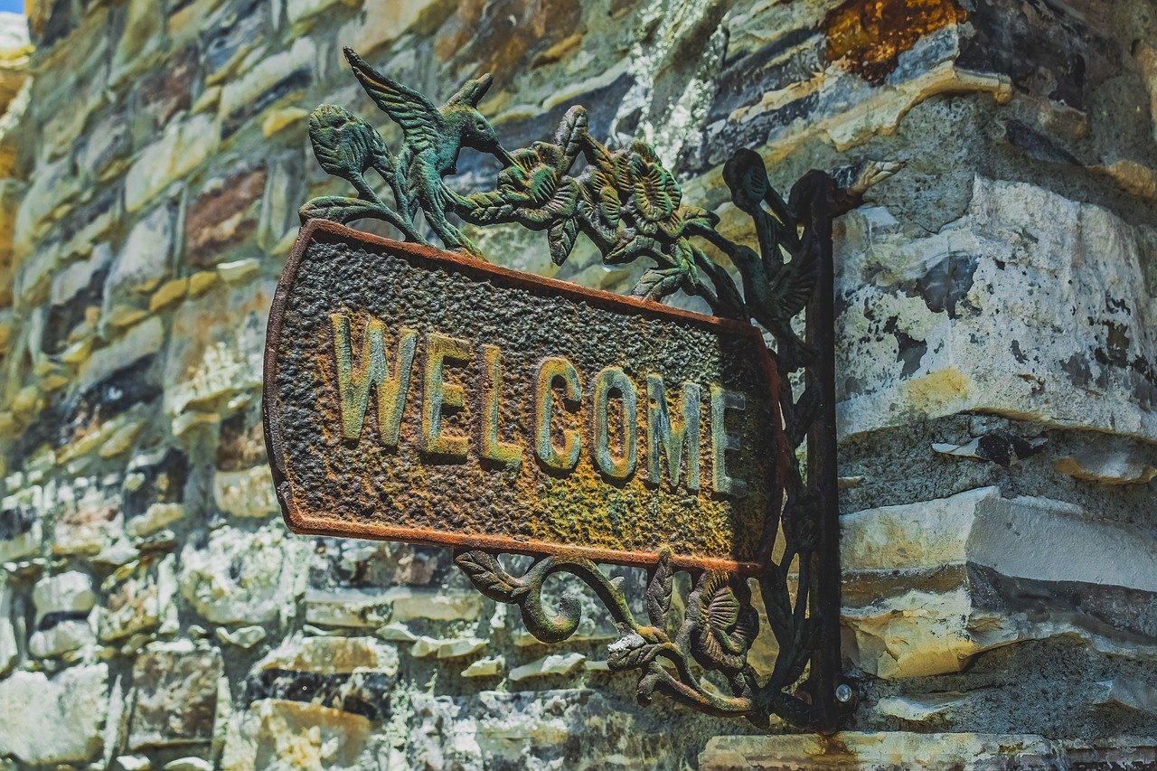 welcome, sign, greeting